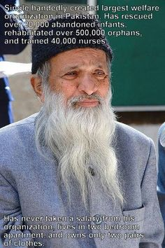 Abdul Sattar Edhi, was a prominent Pakistani philanthropist, social activist, ascetic and humanitarian. He was the founder and head of the Edhi Foundation. The Edhi Foundation is a non-profit social welfare program in Pakistan, founded by Abdul Sattar Edhi in 1951. #Architects #Construction #Architecture  http://www.arcon.pk/portfolio/2-kanal-house-for-mr-aziz-ahmed-at-dha-lahore-phase-6