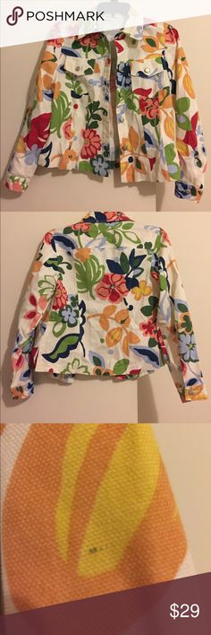 Multicolor Floral Print Jacket Multicolor floral print jacket by 3 sisters, size XSmall. Off white color with colorful floral print design, buttons down. One very small mark on left sleeve as shown pic 3 (hardly noticeable). Other than that jacket is in perfect condition, very unique! 3 Sisters Jackets & Coats