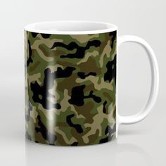 Camouflage Black and White Coffee Mug by camouflagedextergornez Black And White Coffee, White Coffee Mugs, Unique Coffee Mugs, Coffee Cups, Military Camouflage, Camouflage Clothing, Tea Mugs, Dishwasher, Ceramics