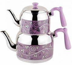 Menekşe Mega Desenli Çaydanlık (3,2 lt – 1,7 lt) - Güven Evim