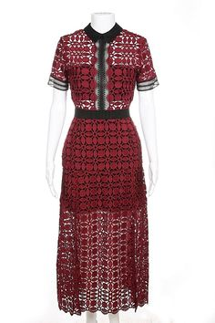 46e17e5edc3 SELF-PORTRAIT Dress Maroon Crochet Lace Crochet Lace Collar