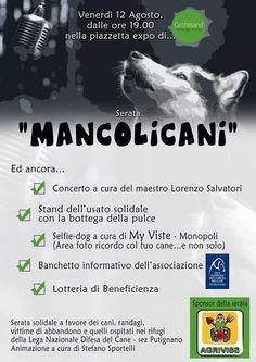 12/8 #Mancolicani serata solidale a favore degli animali accuditi dalla #LNDC di #Putignano