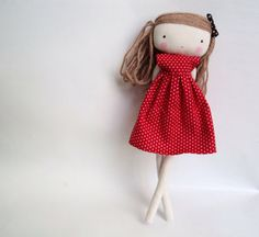 isabella rag art cloth doll polka dots red by lassandaliasdeana, $35.00