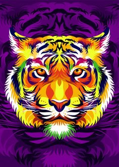 colorful Tiger Head detailed, premium quality, magnet mounted prints on metal designed by talented artists. Our posters will make your wall come to life. Tiger Poster, Tableau Pop Art, Tiger Illustration, Tiger Painting, Cute Tigers, Colorful Animals, Colorful Animal Paintings, Tiger Art, Cool Artwork