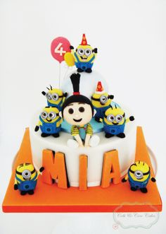 gorgeous detailed kids Agnes & Minions Cake from Cobi & Coco cakes