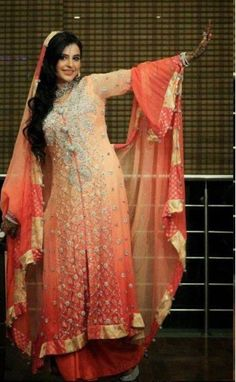 pakistani dresses designers    Pink Embroided Front Open Special Occasion Dress