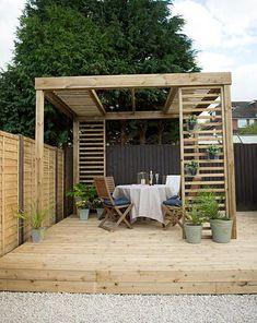 Small Garden Pergola, Hot Tub Pergola, Garden Privacy, Gazebo Pergola, Corner Pergola, Backyard Patio, Black Pergola, Small Garden Landscape, Patio Roof