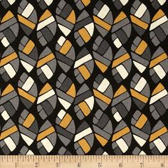 Nomad Mosaic Leaves Grey from @fabricdotcom  Designed by Jen Fox for P&B Textiles, this cotton print fabric is perfect for quilting, apparel and home decor accents. Colors include shades of grey, gold, black and cream.