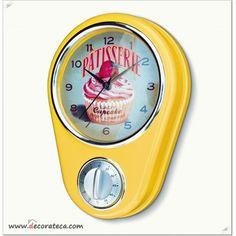 """Reloj minutero amarillo retro """"Lady Cupcake"""". Decoración vintage & fifties - DECORATECA"""