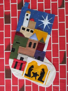 Jumbo Christmas Stocking Felt Bethlehem & Nativity Scene Sequins Beads Hand Made  FREE SHIPPING on Etsy, $81.35 AUD