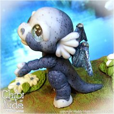 Cute little polyclay Dragon Made from Premo Frost, glitter and Paint :o) http://chibitude.com/adopt/2013/09/09/4259/