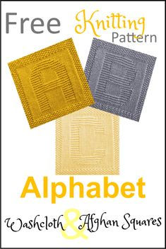 Free Alphabet Washcloths and Afghan Squares Knitting Patterns - Washcloths - Ideas . Free Alphabet Washcloths and Afghan Squares Knitting Patterns - Washcloths - Ideas for Washcloths - Free knitting pattern for the letters. Knitted Squares Pattern, Knitted Dishcloth Patterns Free, Knitting Squares, Knitted Washcloths, Knitted Blankets, Knitting Stitches, Knitting Patterns Free, Crochet Afghans, Knitted Bags