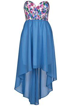 #ROMWE  ROMWE   Blue Floral Bandeau Dress, The Latest Street Fashion