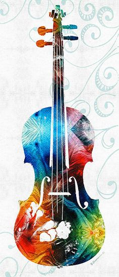Colorful Violin Art By Sharon Cummings by Sharon Cummings