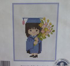 Stitch count : 46 x Kit contains : easy to read symbol/color chart, 14 count Aida, instruction, needle, pre-sorted thread. Stitch Doll, Stitch Kit, College Grad Gifts, Cross Stitch Patterns, Crochet Patterns, Cross Stitch Cushion, Palestinian Embroidery, Mini Cross Stitch, Needlepoint Kits