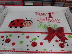 Ladybug Bow Birthday Sheet Cake @sugarshackscia
