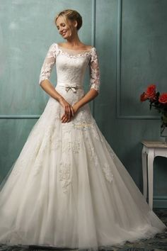 Modest Half Lace Sleeve Vintage Wedding Dress Size 4 6 8 10 12 14 16 18 Custom #Handmade #Wedding