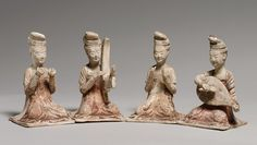 Seated Female Musicians, Tang dynasty (618–906), late 7th century China Pottery