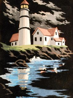 Paint by Number Painting of Lighthouse, Buildings and Sea Coast at Night, Oil on Black Velvet, Vintage, 1950s, by Craft Master