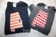 Auburn Alabama UT Tennessee LSU UGA State Sweatshirt by Tootlebugs.... Love this but would want a black sweatshirt!