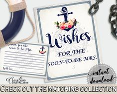 Nautical Anchor Flowers Bridal Shower Wishes For The Soon To Be Mrs in Navy Blue, best wishes, underwater theme, shower celebration - 87BSZ #bridalshower #bride-to-be #bridetobe
