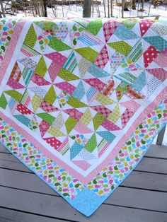Tweety Birds and Whirligigs 55x78 quilt in bright by pinetreelodge