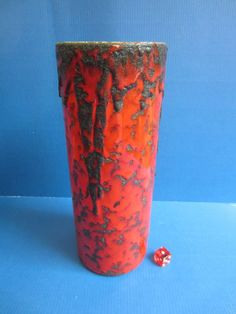 Fohr Keramik West Germany 301-25 FAT Lava Black/Red Vintage 70