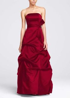 The David's Bridal bridesmaid dresses in the color apple.