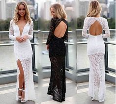 NEW BLACK WHITE LACE MAXI DRESS WOMEN SUMMER DRESS CLUBWEAR OPEN BACK SIDE SILT EVENING PARTY BODYCON BANDAGE OUTFIT CUT OUT DRESSES
