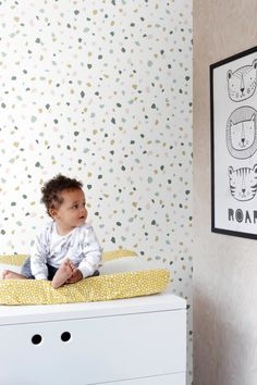 wallpaper terrazzo white, soft pink, mint green, dark green and light brown from ESTA home