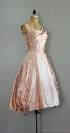 vintage 1950s dress / Ceil Chapman / Blush Silk dress