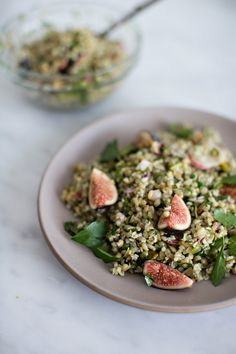 Summer Grain Salad W/ Radish, Fig, Mint & Pistachio By Sunday Suppers Recipes from: Foodily Fig Recipes, Salad Recipes, Vegetarian Recipes, Healthy Recipes, Vegan Vegetarian, Healthy Cooking, Healthy Eating, Healthy Food, Sandwiches