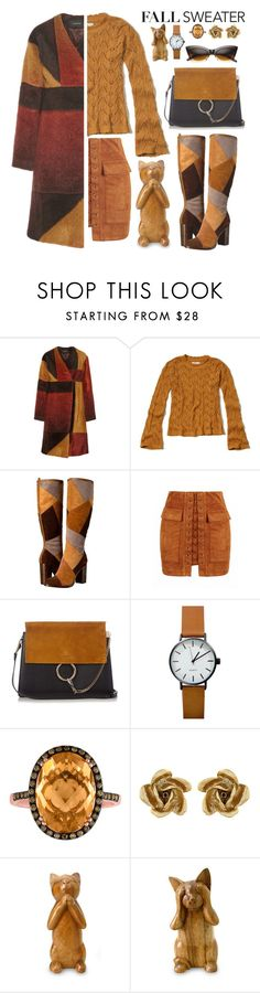 """""""FALL SWEATER // CAT STYLE"""" by shoaleh-nia ❤ liked on Polyvore featuring Thakoon, Hollister Co., Frye, Chloé, Oscar de la Renta, NOVICA and ZeroUV"""