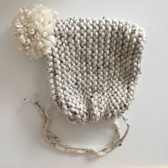 """the temperance"" knit pom bonnet; handmade knitted bonnet. oatmeal with solid cream pom [color shown in photo] *can be made with any..."