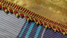 Saree Kuchu New Designs, Saree Tassels Designs, Saree Blouse Neck Designs, Bridal Blouse Designs, Simple Embroidery Designs, Banarsi Saree, Crochet Flower Tutorial, Saree Border, Designer Blouse Patterns