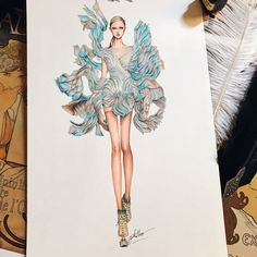 In love with this dress, very very impressed by @irisvanherpen haute couture summer spring 2018 #sketch #sketching #draw #drawing #fashion #fashionsketch #fashiondrawing #fashionillustrator #fashionillustration #fashionart #art #artwork #instaart #hautecouture #irisvanherpen #paris #parisfashionweek