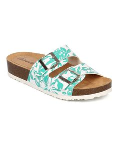 Breckelles CF07 Women Tropical Open Toe Double Buckle Slip On Footbed Sandal - Aqua -- You can find more details by visiting the image link.