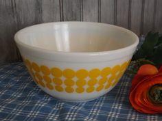 Vintage Yellow Polka Dot Mixing Bowl/Home and by UPCYCLEDDREAMS