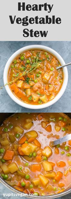 Ultimate Hearty Vegetable Stew recipe: In one pot, whip up a rich and flavorful, vegetarian vegetable stew that& naturally vegan and gluten-free. Tasty Vegetarian Recipes, Veggie Recipes, Whole Food Recipes, Cooking Recipes, Healthy Recipes, Veggie Meals, Family Recipes, Soup Recipes, Dinner Recipes