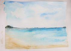Watercolor beach landscape