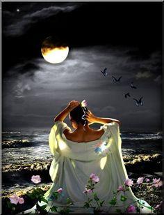 c… Background Flowers Butterflies Ribbon B. Dawning under the Moon Beautiful Fantasy Art, Beautiful Moon, Beau Gif, Under The Moon, Moon Magic, Lunar Magic, Sun And Stars, Moon Goddess, Moon Art