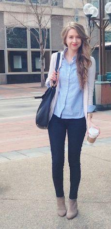 chambray shirt | cream cardigan | dark slim trousers