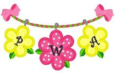 Three Flower Monogram Applique - 3 Sizes! | Floral - Flowers | Machine Embroidery Designs | SWAKembroidery.com Band to Bow