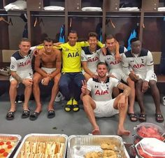 Not overly fond of these after game selfies but here's the dressing room after our away win at CSKA Moscow. Hot Rugby Players, Leather Hoodie, Tottenham Hotspur Football, Man Of The Match, Soccer Boys, Men In Uniform, Male Feet, Football Team, Cute Guys