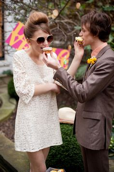 Fun and flirty 1960s wedding styling with dress by @MinnaKH and original vintage suit by @Tweedmans.  See http://bit.ly/IXhaaN