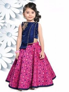 Silk wedding wear lehenga choli in magenta color Gowns For Girls, Wedding Dresses For Girls, Little Girl Dresses, Girls Dresses, Kids Dress Wear, Kids Gown, Party Wear Dresses, Kids Lehenga Choli, Anarkali Lehenga