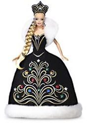 2006 Holiday Barbie wears a black gown embellished with beautiful gold and colored gemstones designed by Bob Mackie.  She wears an equally embellished matching crown that makes a statement against her long braided hair.  She is wearing dangling earrings and shimmering eyeshadow. (Own 1)