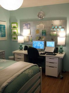 Guest Bedroom / Home Office -- 25 Fabulous ideas for a home office in the bedroom