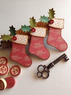 Stockings ..handmade Christmas embellishments .. Vintage style aged inked shabby chic rustic on Etsy, $2.95