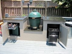 Ceramic Cooker Table Gallery -- The Naked Whiz's Ceramic Charcoal Cooking Big Green Egg Outdoor Kitchen, Outdoor Kitchen Plans, Outdoor Oven, Backyard Kitchen, Outdoor Kitchen Design, Outdoor Cooking, Outdoor Kitchens, Large Backyard Landscaping, Backyard Patio Designs